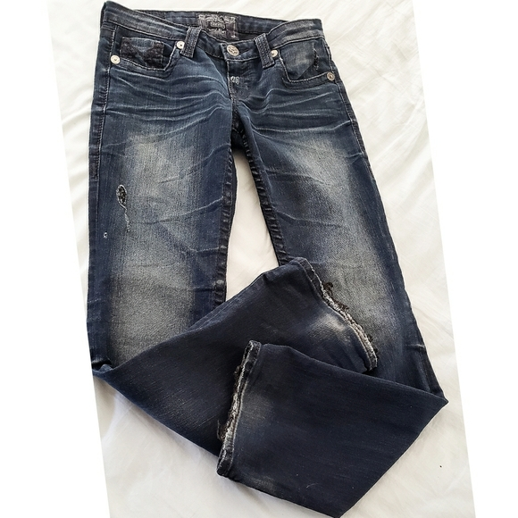 Big Star Denim - Big Star Blue LIV BOOT Dark Wash Frayed Hem Jeans